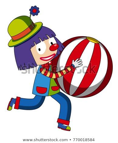 Happy clown with beachball Stock photo © colematt
