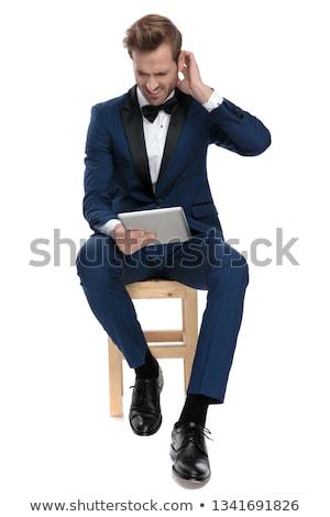 anxieux · homme · séance · président · attente · entretien · d'embauche - photo stock © feedough