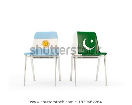 Iki sandalye bayraklar Arjantin Pakistan yalıtılmış Stok fotoğraf © MikhailMishchenko