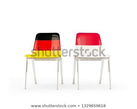 Dois cadeiras bandeiras Alemanha Indonésia isolado Foto stock © MikhailMishchenko
