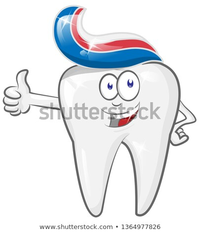 Memnun güçlü karikatür diş karakter Stok fotoğraf © doomko