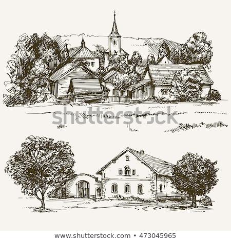 Photo stock: Rural · village · maison · illustration · eau