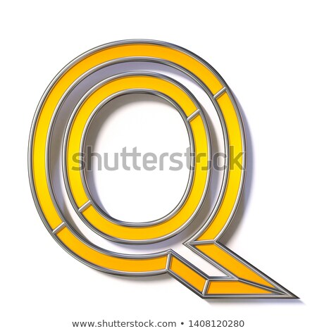 Orange metal wire font Letter Q 3D Stock photo © djmilic