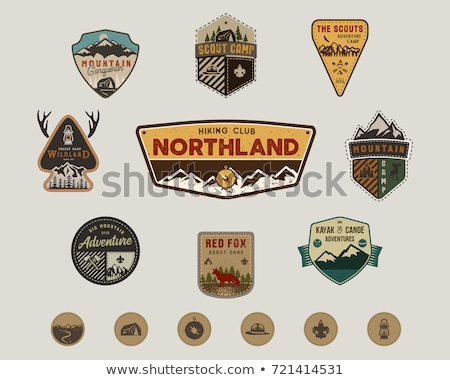Vintage canoe kayaking logos patches set. Hand drawn camping labels designs. Mountain expedition, ca Stock photo © JeksonGraphics