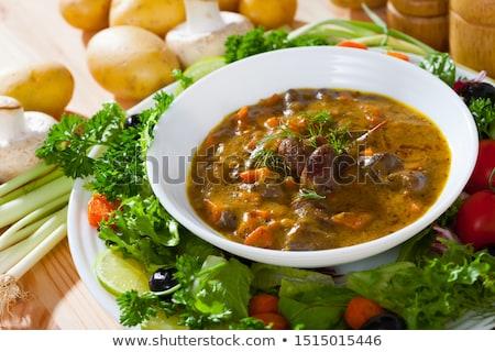 Tyúk máj zöldségek edény étel hús Stock fotó © furmanphoto
