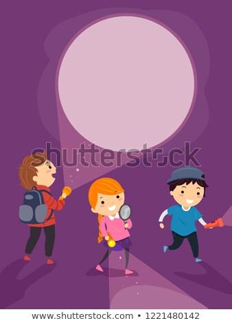 Crianças mistério ilustração lupa Foto stock © lenm