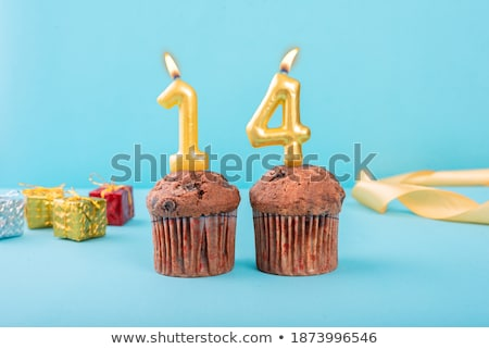 Festive cake with golden candles - Number 14 Stock photo © Zerbor