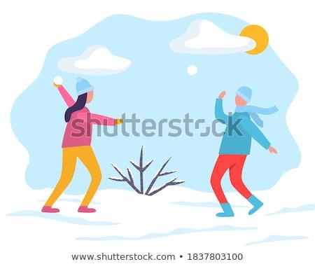 Молодой человек собирается бросить снежок Сток-фото © robuart