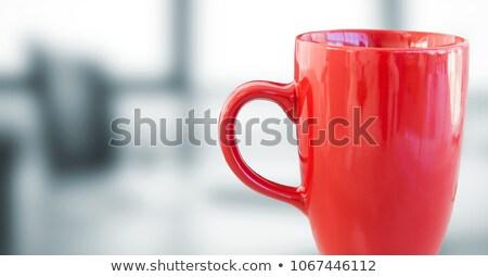 Piros kávéscsésze homályos szürke iroda digitális kompozit Stock fotó © wavebreak_media