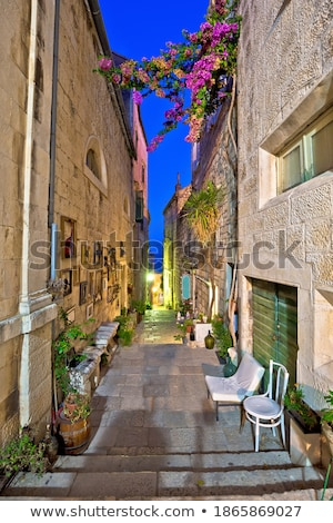 Town of Korcula stone tower and city walls colorful view stock photo © xbrchx