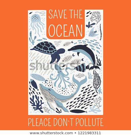 Környezet szennyezés illusztráció cápa vektor fehér Stock fotó © leedsn