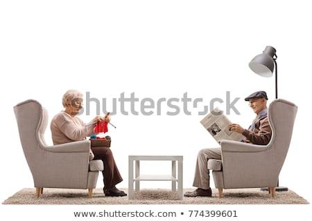 Nagyapa fotel illusztráció macska nagymama ül Stock fotó © adrenalina
