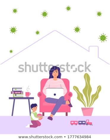 mother and son at the laptop   cartoon people characters illustration stock photo © decorwithme