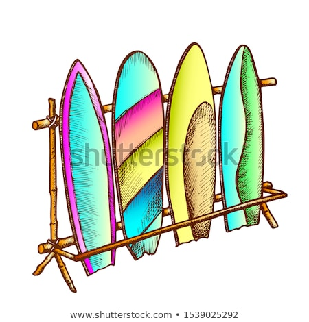 Surfboards In Different Design On Rack Color Vector Stock photo © pikepicture