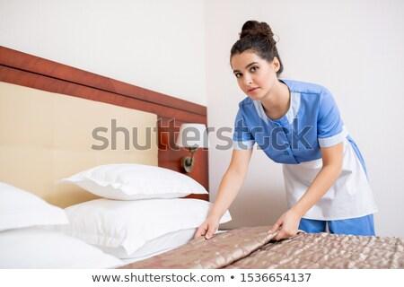Fiatal barna hajú női kék egyenruha szobalány Stock fotó © pressmaster