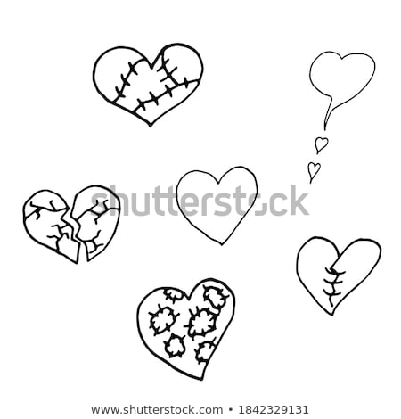 Vector Romantic Love Patches Set in doodle style with shape Stock photo © barsrsind
