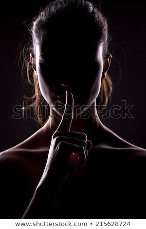 Silhouette of woman with hush sign Stock photo © nomadsoul1