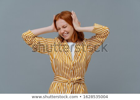 Stressante femme pression Épouvantable maux de tête Photo stock © vkstudio