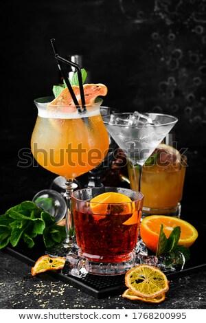 Cocktail vers kalk stro glas koeling Stockfoto © jossdiim