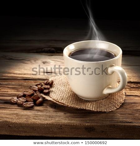 Coffee cup, sugar and roasted beans Stock photo © karandaev