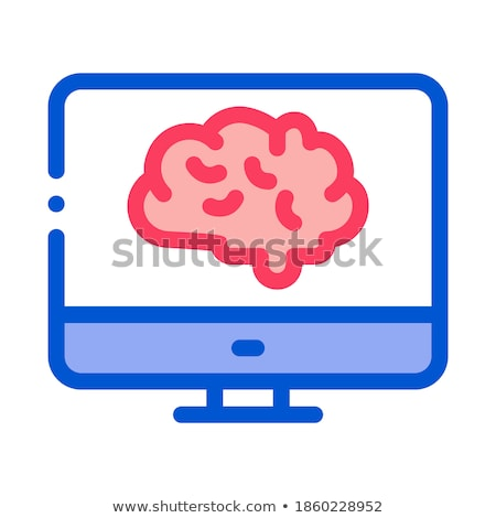Brain On Display Icon Vector Outline Illustration Stock photo © pikepicture