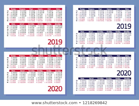 2019 year simple white calendar on russian language on black Stock photo © evgeny89