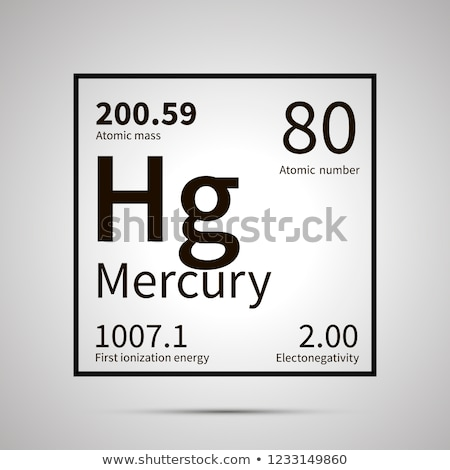 Mercury chemical element with first ionization energy, atomic mass and electronegativity values ,sim Stock photo © evgeny89