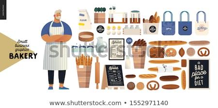 Vektor szett pék pékség étel mosoly Stock fotó © olllikeballoon