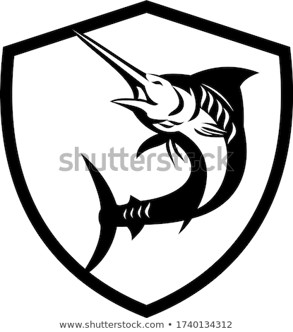 Blue Marlin Fish Jumping Shield Crest Retro Black and White Stock photo © patrimonio