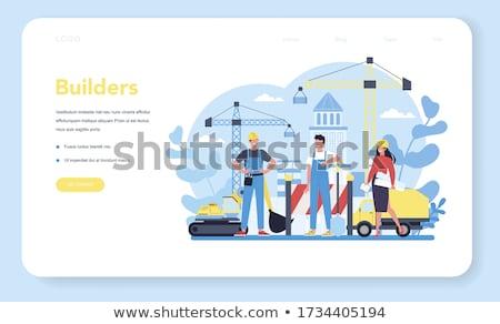 Modern inşaat makinalar iniş sayfa Bina Stok fotoğraf © RAStudio