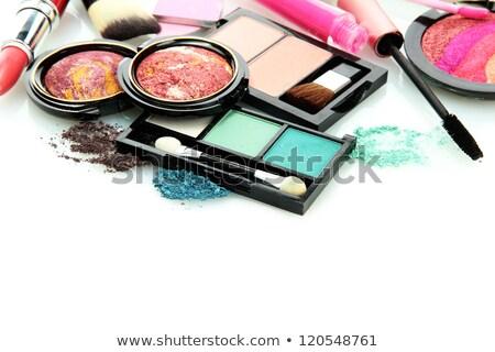 many cosmetics rouge and brushes on the white background Stock photo © tetkoren