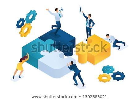 3d businessmen connecting puzzles Stock photo © dacasdo