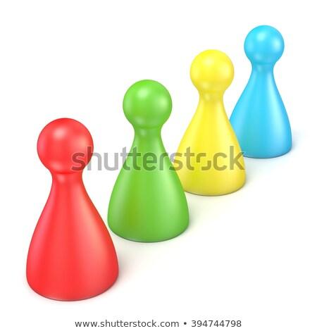 Blue game pawns in a row stock photo © Giashpee