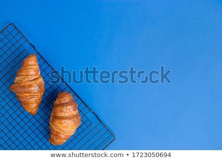 dois · croissants · branco · mesa · de · madeira · tabela · pão - foto stock © aladin66