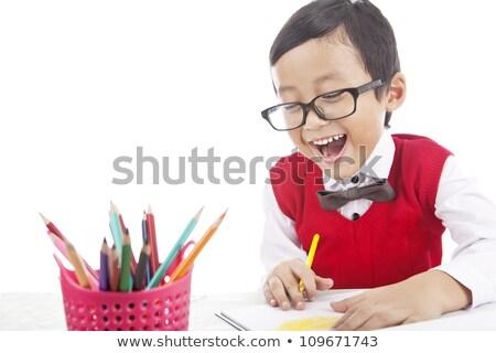 Kicsi stréber fiú csokornyakkendő könyv okos Stock fotó © pekour