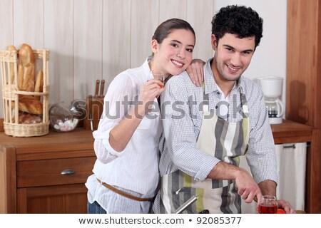 счастливым · пару · спагетти · кухне · вино · женщину - Сток-фото © photography33