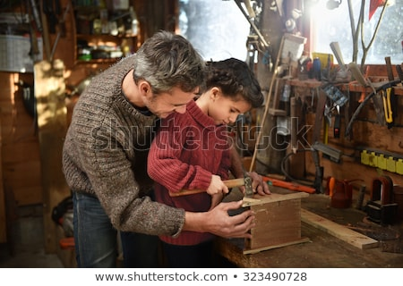 Apa lánygyermek csináld magad csapat munka gyár Stock fotó © photography33