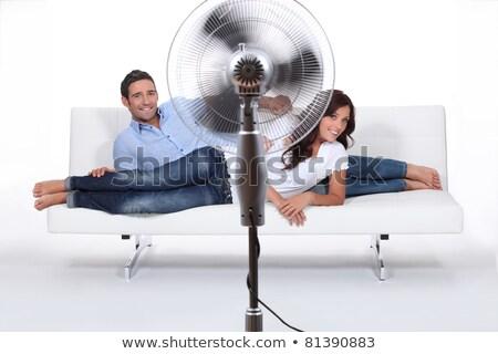 homem · ventilador · suar · verão · arame · ventilador - foto stock © photography33