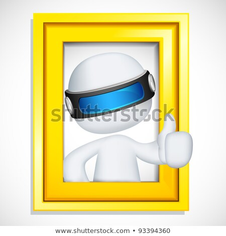 3d Man In Vector Showing Ok Sign From Photo Frame Stockfoto © Vectomart