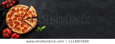 Peperoni pizza champignons voedsel achtergrond diner Stockfoto © ozaiachin
