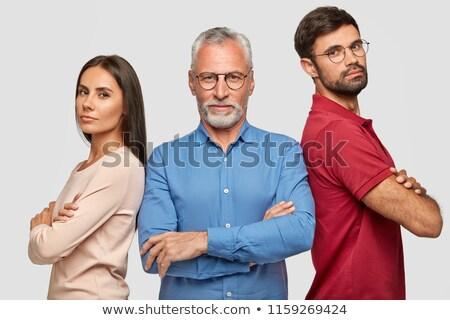 Idősebb férfi áll kezek teljes alakos lövés Stock fotó © stockyimages