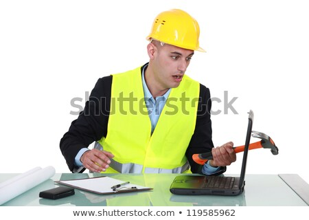 Onhandig architect laptop hamer bouw pen Stockfoto © photography33