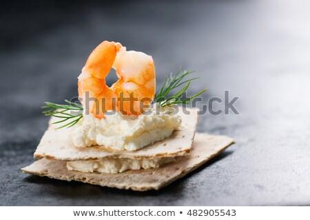 canape with shrimp and cream Stock photo © M-studio