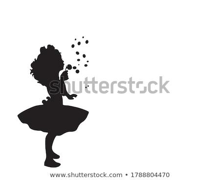 Mädchen glücklich Schlag Blasen isoliert weiß Hände Stock foto © acidgrey