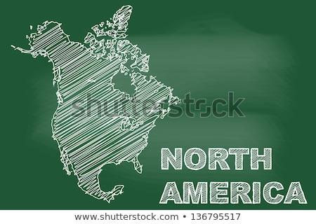 Pokaż · na · północ · Ameryki · tablicy · rysunek - zdjęcia stock © vepar5