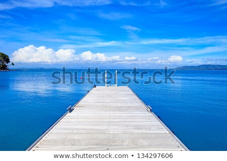 Wooden jetty and blue ocean Stock photo © Hofmeester