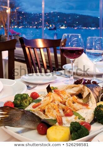 Yunan salata karides kokteyl ahşap masa gıda Stok fotoğraf © doupix