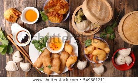 ázsiai konyha ázsiai leves Seattle kerámia kanál Stock fotó © doupix