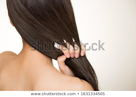 волос женщину серый студию рук женщины Сток-фото © jayfish