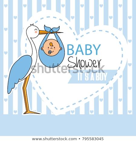 bebê · menino · nascimento · anúncio · cartão · modelo - foto stock © kariiika